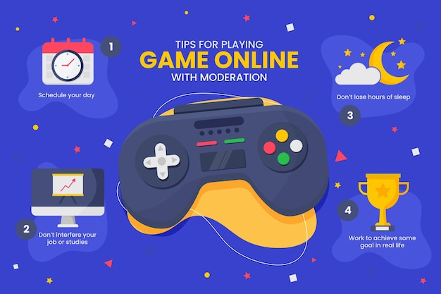 Conseils Pour Jouer à Des Jeux En Ligne Avec Modération Vecteur Premium