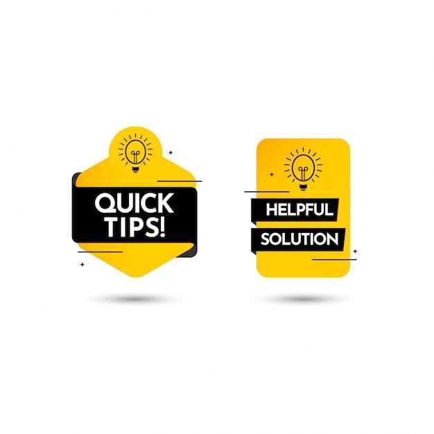 Conseils Rapides, Aide Complète Solution Texte étiquette Vector Template Design Illustration Vecteur Premium