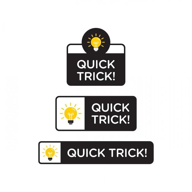 Conseils Rapides, Astuces Utiles Icône De Logo Vectoriel Ou Symbole Sertie De Couleur Noire Et Jaune Et élément D'ampoule Vecteur Premium