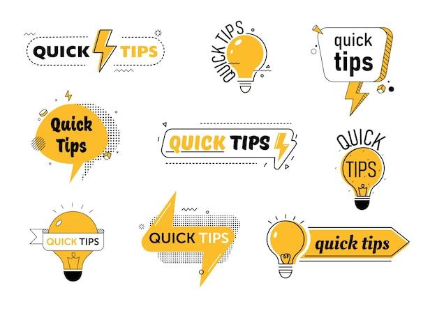 Conseils Rapides Définis Pour Ou Article De Blog Vecteur Premium