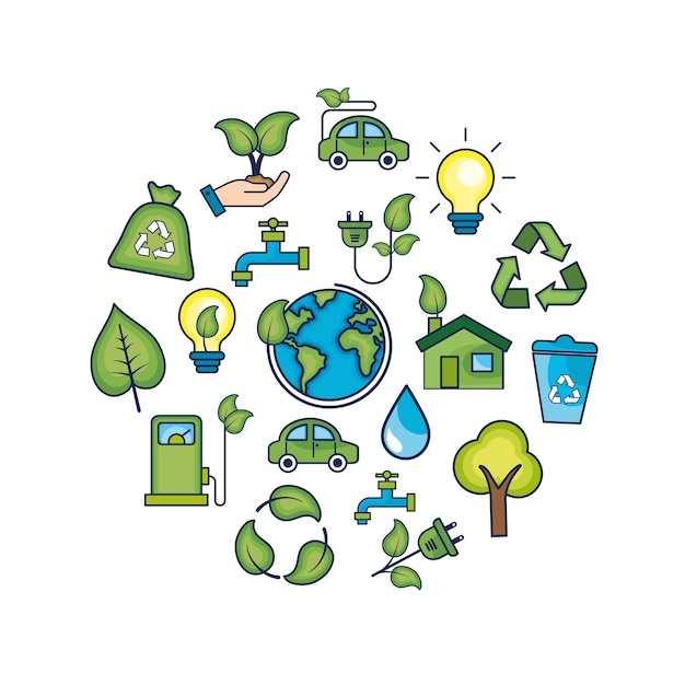 Conservation de l'écologie à la protection de l'environnement naturel Vecteur Premium