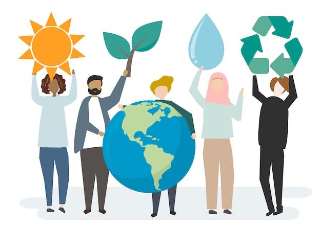 Conservation de l'environnement et protection de notre monde Vecteur gratuit