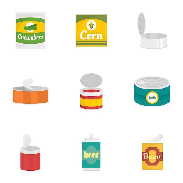 Conserver le jeu d'icônes de nourriture, style plat Vecteur Premium