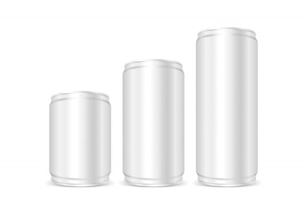 Conserves d'argent, canettes de fer d'argent, ensemble de boîtes de bière ou de soda à l'argent métallique vierges isolés Vecteur Premium