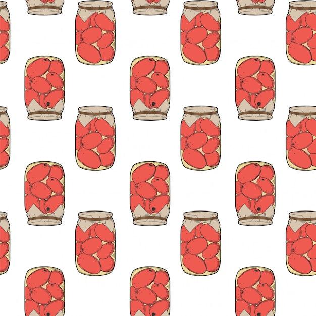 Conserves de tomates en conserve. Vecteur Premium