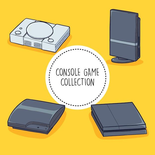 Console game collection Vecteur Premium