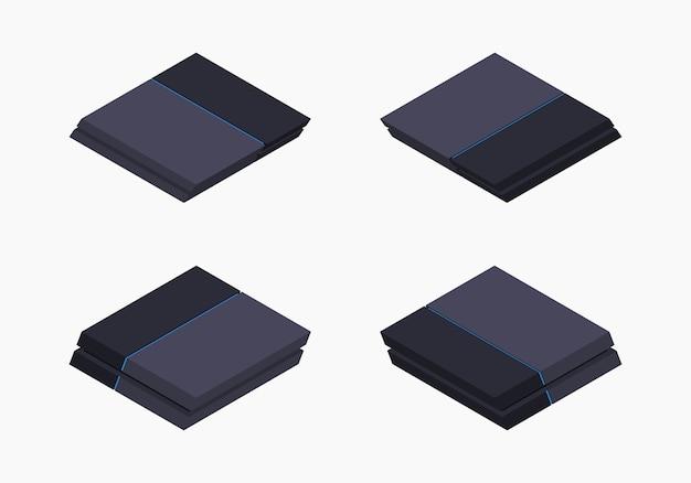 Console De Jeu Nextgen Noire Isométrique Vecteur Premium