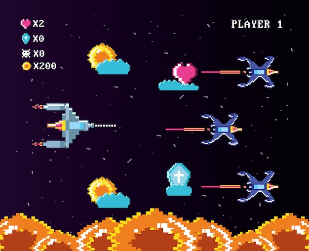 Console De Jeux Vidéo Classique De Pièces De Monnaie Vecteur Premium