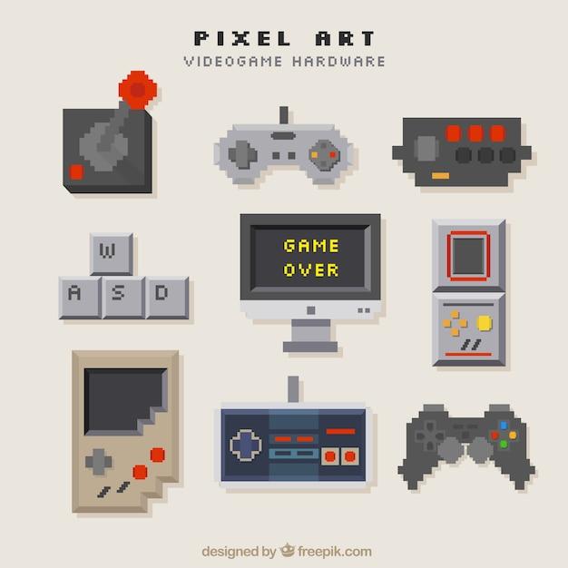 Consoles Définies Dans Le Style Pixel Art Vecteur gratuit