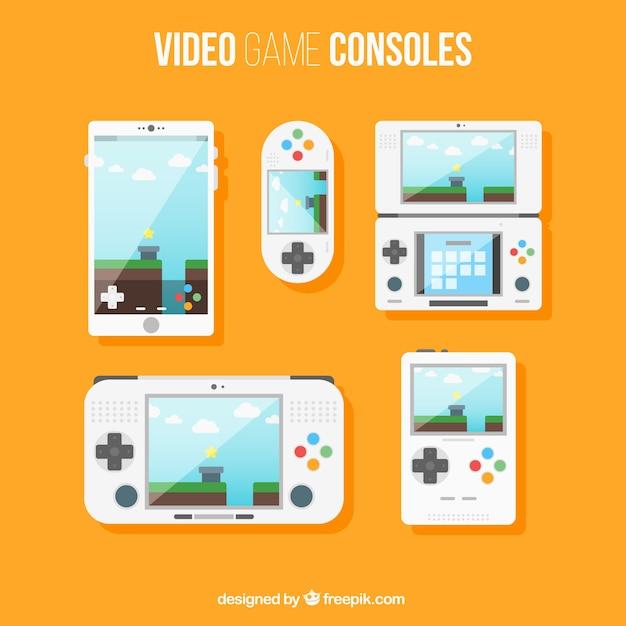 Les Consoles De Jeux Mis En Design Plat Vecteur gratuit