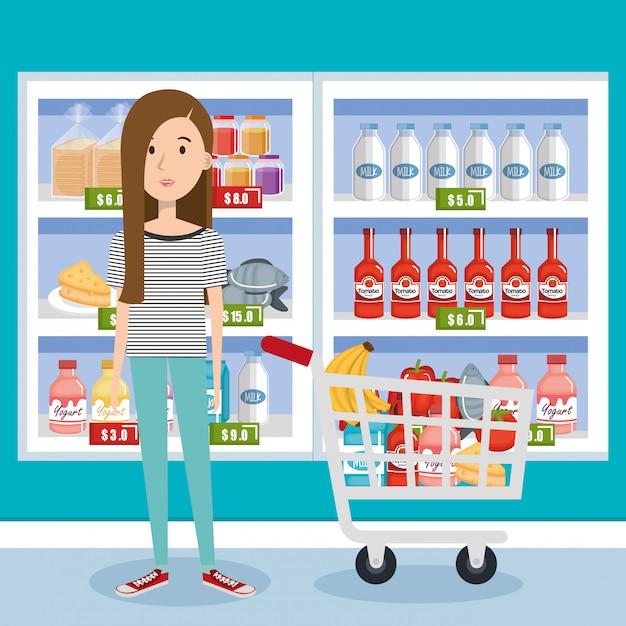 Consommateur Avec Panier D'épicerie Vecteur gratuit
