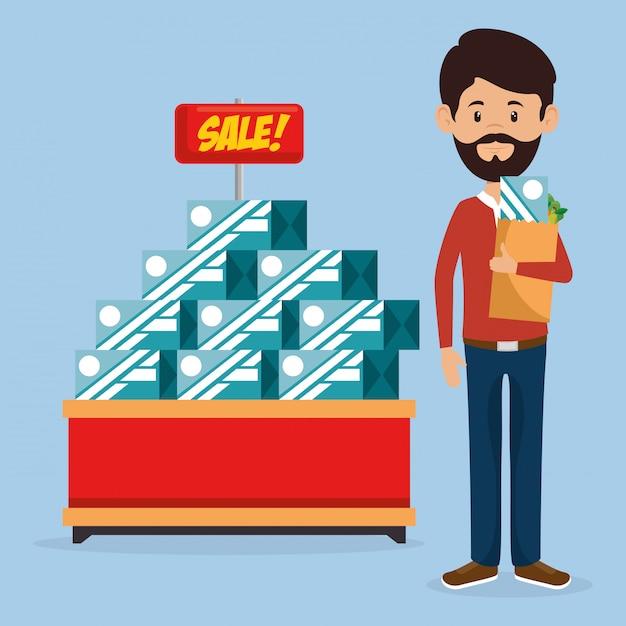 Consommateur Avec Sac D'épicerie Vecteur gratuit