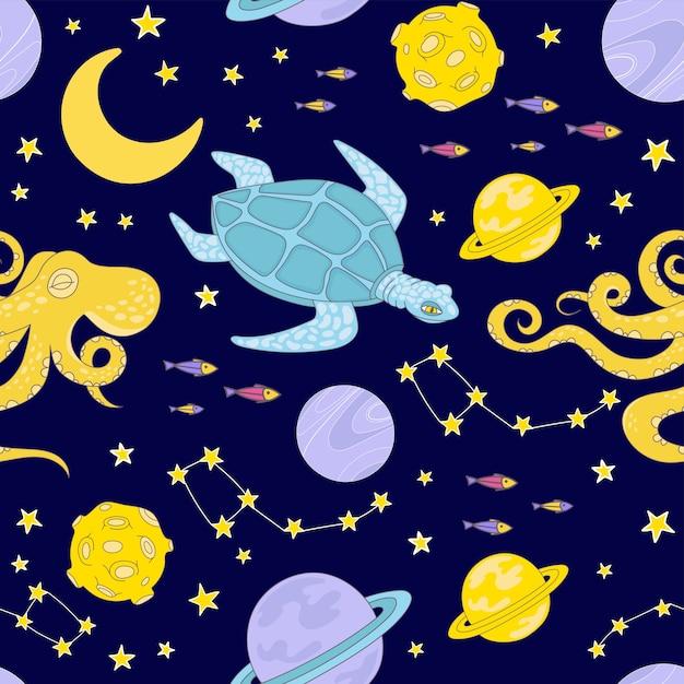 Constellation Espace Animal Dessin Animé Planète Cosmos Univers Galactique Voyage Voyage Seamless Pattern Illustration Vectorielle Pour Imprimer Vecteur Premium