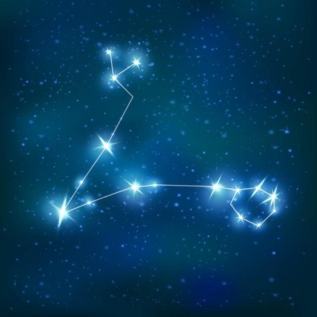 Constellation Zodiacale Réaliste De Poissons Avec Structure Polygonale Brillante Bleue Sur Le Cluster D'étoiles Vecteur gratuit