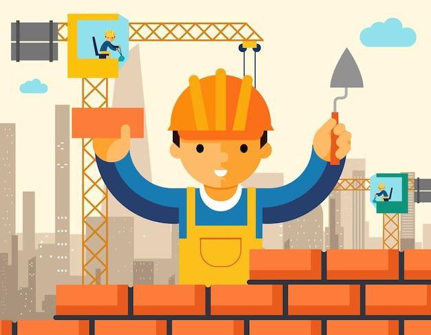 Le Constructeur Construit Le Mur De Briques De La Maison. Ouvrier Ou Maçonnerie, Travail à La Truelle, Homme Au Casque. Vecteur Premium