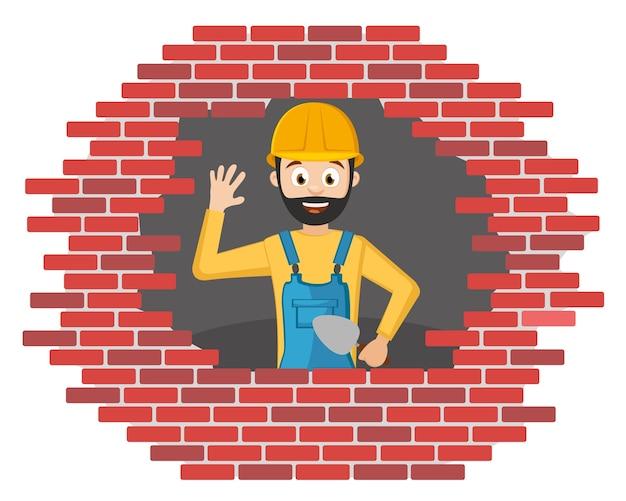 Le Constructeur Dans Un Casque Construit Un Mur De Briques Sur Un Fond Blanc. Vecteur Premium
