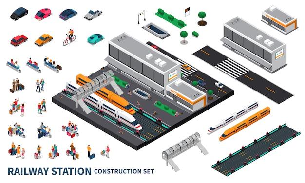 Constructeur Isométrique De Gare Vecteur gratuit