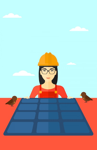 Constructeur avec panneau solaire. Vecteur Premium