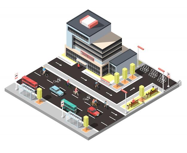 Constructeur de ville isométrique avec circulation de vélos Vecteur gratuit