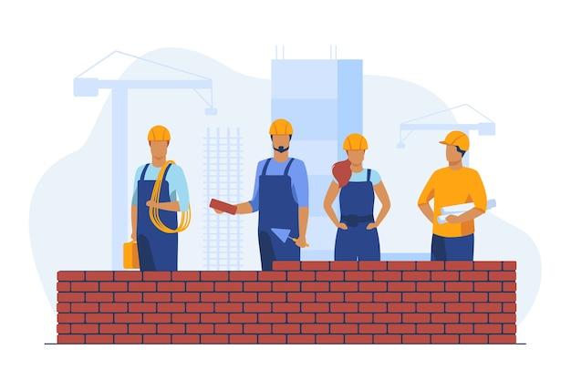 Constructeurs Professionnels Faisant Un Mur De Briques. Site, Casque, Illustration Vectorielle Plane Constructeur. Construction Et Ingénierie Vecteur gratuit