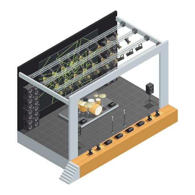 Construction d'affiche isométrique sur scène avec différents systèmes de haut-parleurs pour microphones Vecteur gratuit