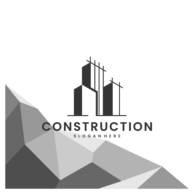 Construction, Bâtiment, Bureau, Inspiration De Conception De Logo Vecteur Premium