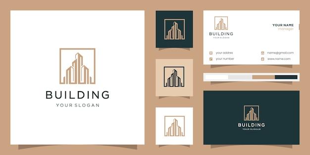 Construction De Bâtiments Carrés. Logo Et Carte De Visite. Vecteur Premium