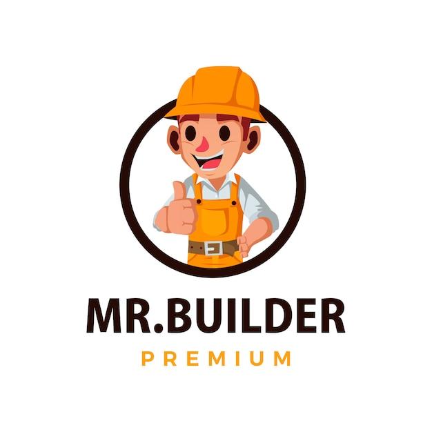 Construction Builder Pouce Vers Le Haut Mascotte Caractère Logo Icône Illustration Vecteur Premium