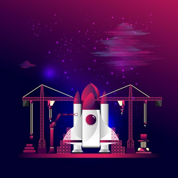Construction du vaisseau spatial. concept de technologie, de transport et d'entreprise. Vecteur Premium