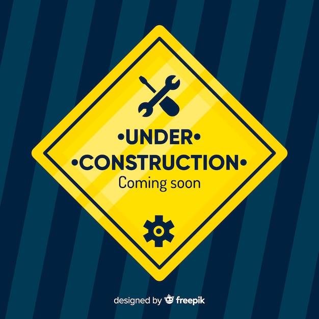 En construction fond plat Vecteur gratuit
