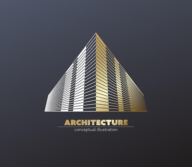 Construction Géométrique Et Concept De Centre De Bureaux. Vecteur Premium