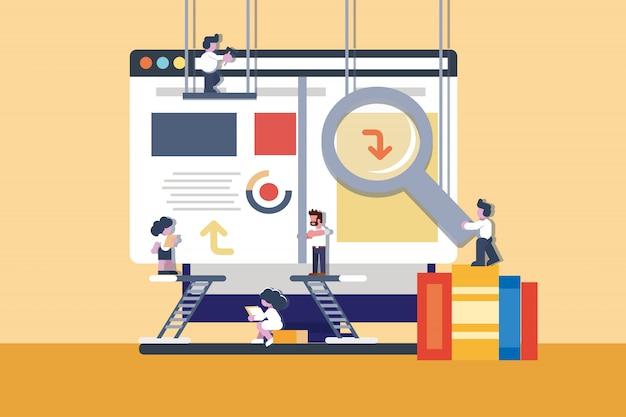 Construction d'illustration de site web de bureau d'affaires Vecteur Premium