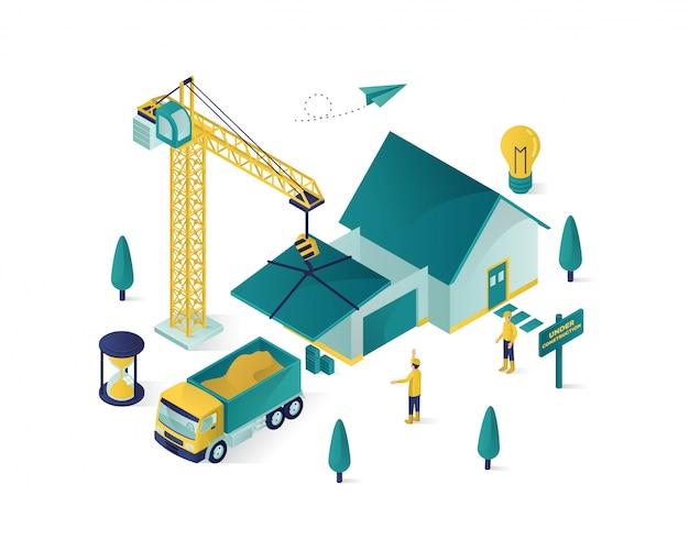 Construction immobilière isométrique Vecteur Premium