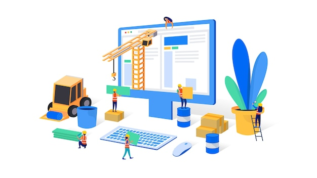 En construction ou maintenance Vecteur Premium