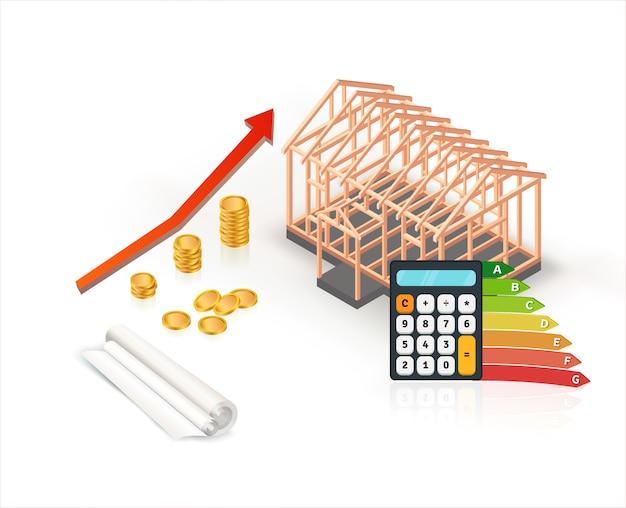 Construction de maison en bois économe en énergie isométrique avec calculatrice et pièces de monnaie Vecteur Premium