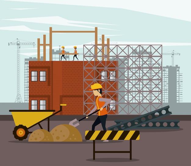 En construction avec des ouvriers Vecteur Premium