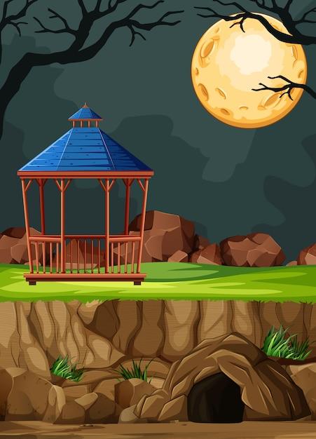 Construction D'un Parc Animalier Sans Animal Sur Fond De Nuit En Style Cartoon Vecteur gratuit