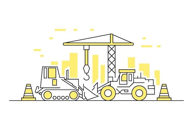 Construction simple line Vecteur Premium