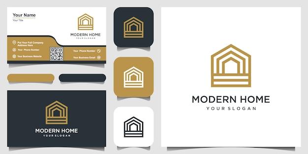 Construire Le Logo De La Maison Avec Un Style D'art En Ligne. Résumé De Construction De Maison Pour La Conception De Logo Et De Carte De Visite Vecteur Premium