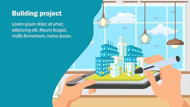 Construire Le Modèle De Vecteur De Bannière Plate Site Web Projet. Vecteur Premium