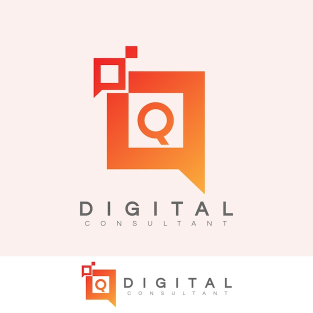 Consultant Numérique Lettre Initiale Q Logo Design Vecteur Premium