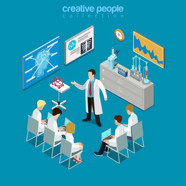 Consultation De Groupe De Médecins Professionnels Concilium Isométrique Plat Vecteur Premium