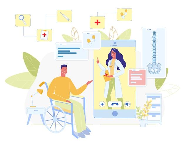 Consultation de médecin en ligne pour dessin animé handicapé Vecteur Premium
