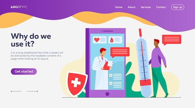 Consultation De Médecin En Ligne Via Le Modèle De Page De Destination Pour Smartphone Vecteur gratuit