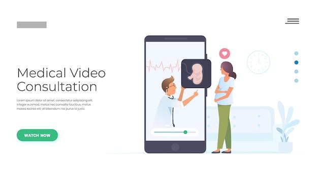 Consultation médicale par un médecin Vecteur Premium
