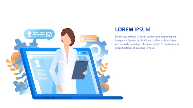 Consultation et soutien en ligne des médecins Vecteur Premium