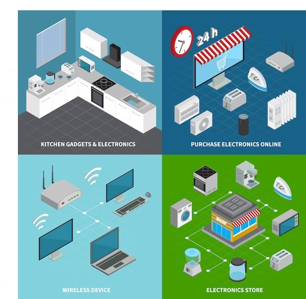 Consumer Electronics 2x2 Concept Ensemble De Gadgets De Cuisine Appareils Sans Fil Et Achat En Ligne De Compositions Carrées Isométriques Vecteur gratuit