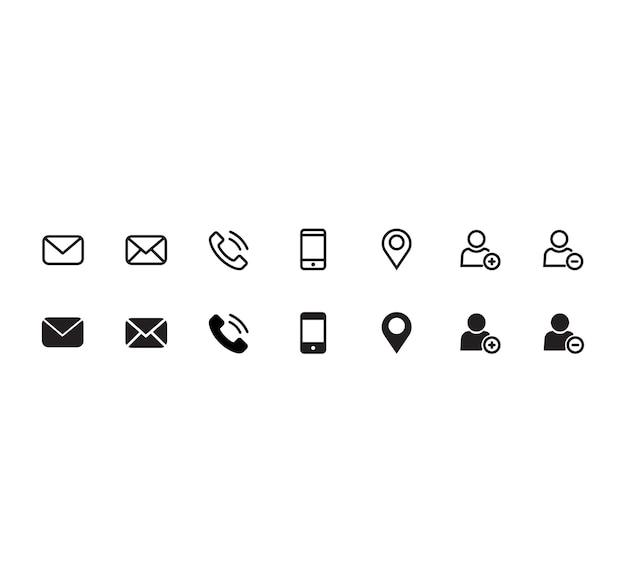 Contact jeu d'icônes Vecteur Premium