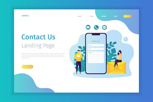 Contactez-nous concept illustration de la page de destination Vecteur Premium