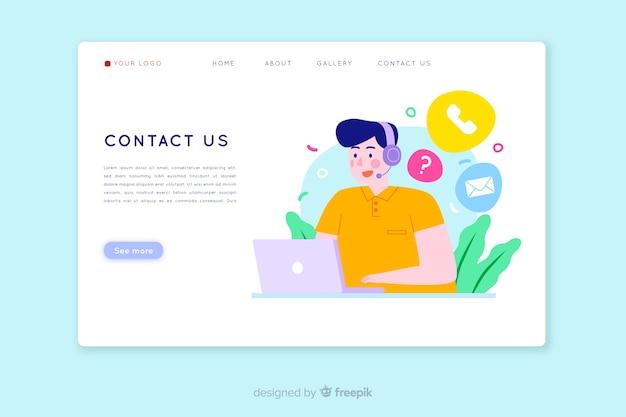 Contactez-nous Concept Pour Landing Page Vecteur gratuit